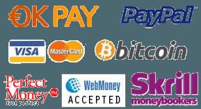 Bitcoin, PayPal, PerfectMoney, Payza, Skrill