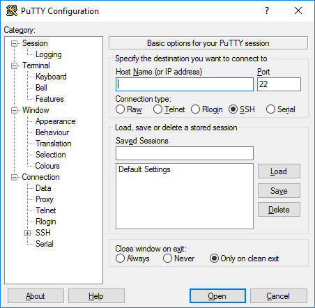 Configure PuTTY