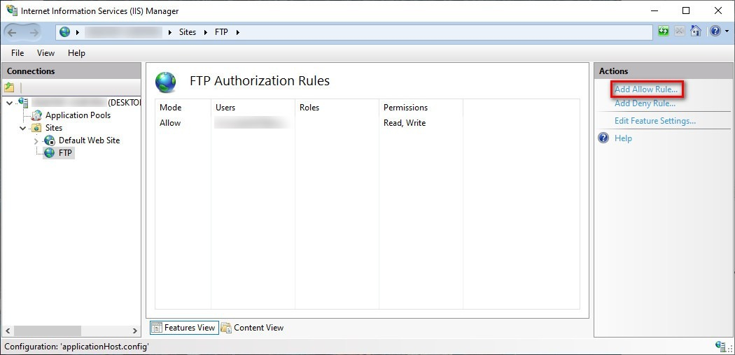 create multiple FTP accounts on Windows 10