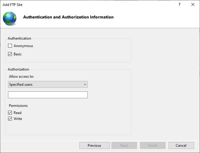 configure an FTP server on Windows 10