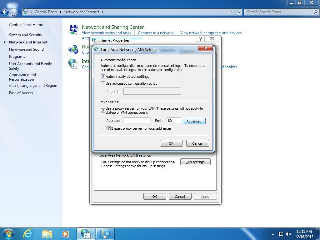 Network Proxy Setting Windows 7