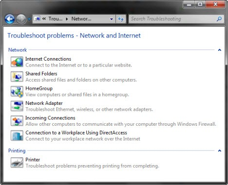 Network adapter troubleshooting windows 7