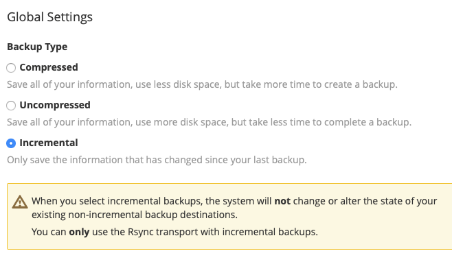 choose if you want your backup to be compressed