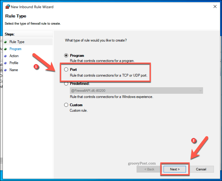 select the port option