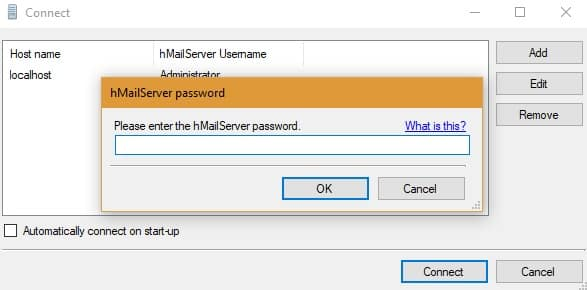 Connect hMailServer Administrator