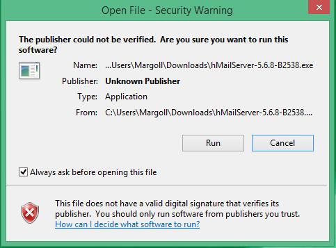 click run for hmailserver