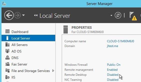 enable rdp in windows server 2012