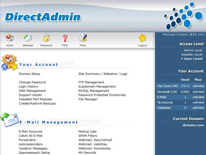 DirectAdmin panel