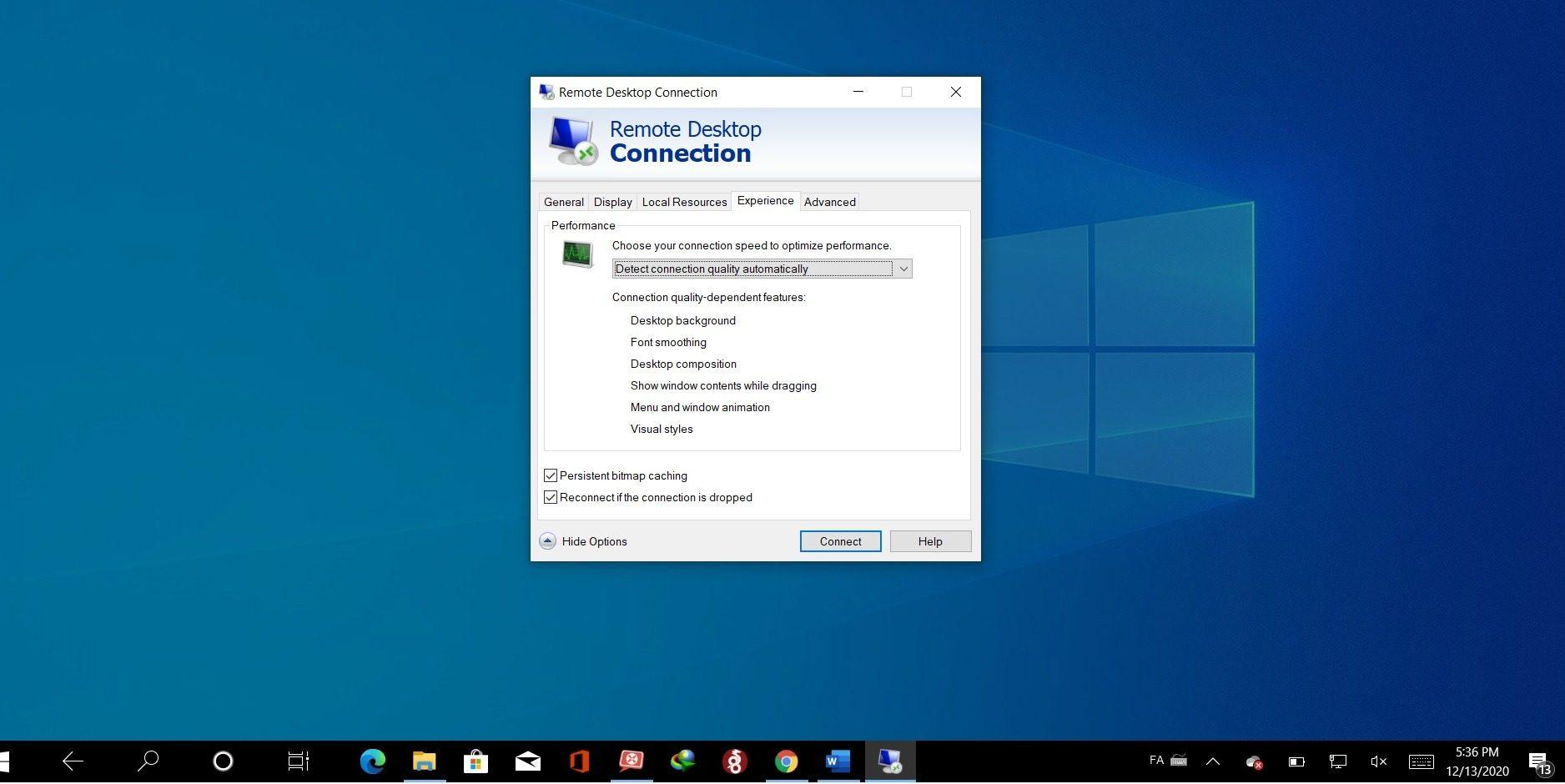 change remote desktop connection settings