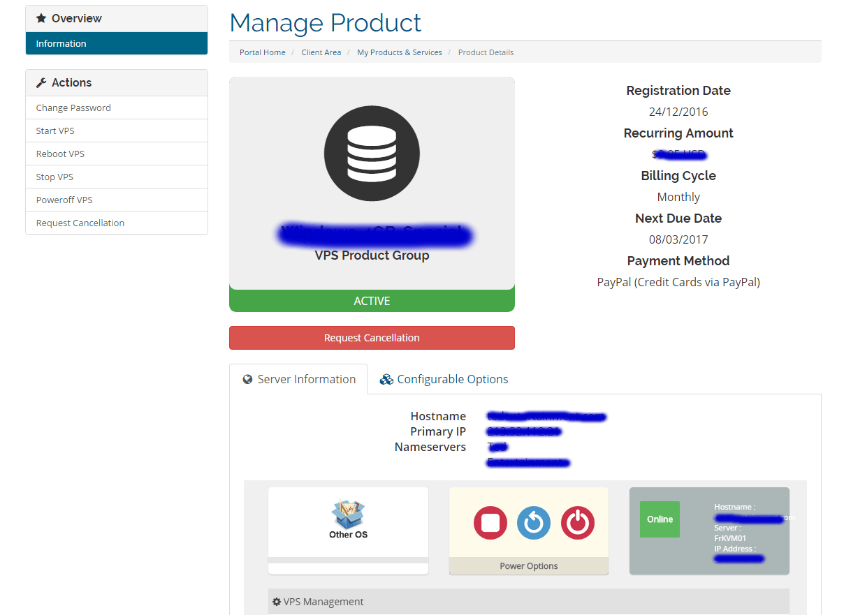 Manage the VPS Server from the VPS Control Panel