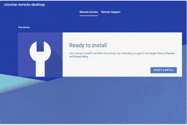 accept the terms to install chrome remote access