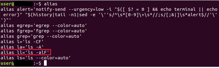 creatin alias in ubuntu