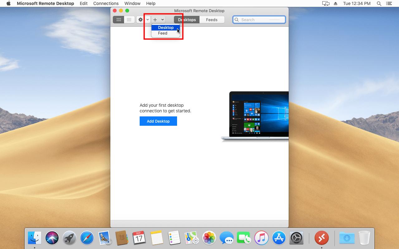 create a remote desktop connection